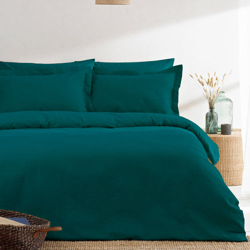 Image of the Waffle Textured Duvet Cover Set | Teal | The Linen Yard