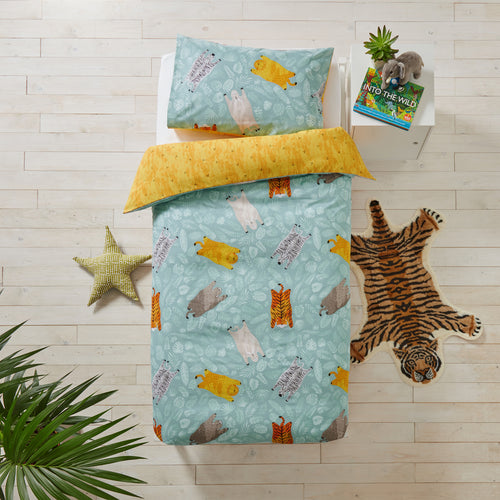 Image of the Wild Friends Kids Duvet Cover Set | Teal | little furn.