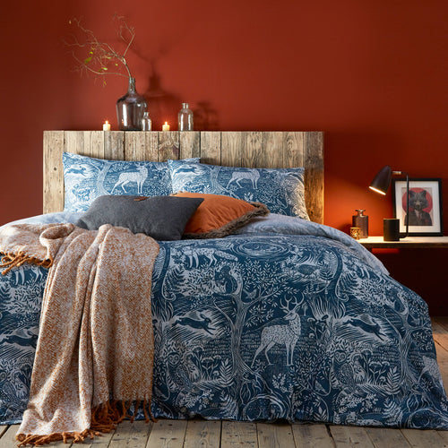 Image of the Winter Woods Animal Duvet Cover Set | Midnight | furn.