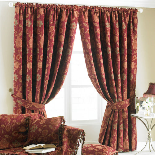 Image of the Zurich Floral Jacquard Pencil Pleat Curtain | Burgundy | Paoletti