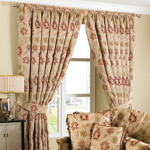 Image of the Zurich Floral Jacquard Pencil Pleat Curtain | Champagne | Paoletti