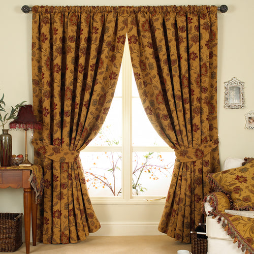 Image of the Zurich Floral Jacquard Pencil Pleat Curtain | Gold | Paoletti