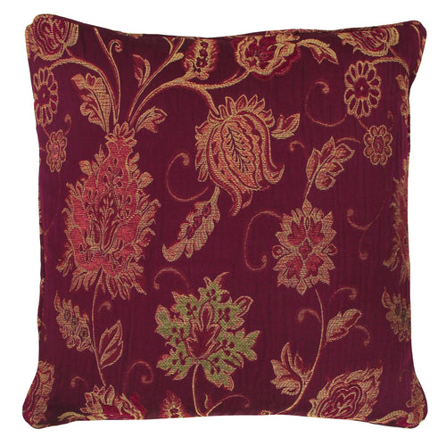 Image of the Zurich Floral Jacquard Cuhion Cover | Burgundy | Paoletti