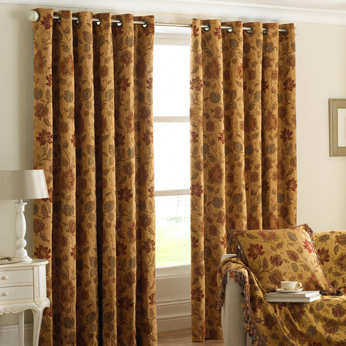 Image of the Zurich Floral Jacquard Eyelet Curtain | Gold | Paoletti