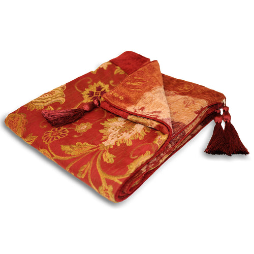 Image of the Zurich Floral Jacquard Throw | Burgundy | Paoletti