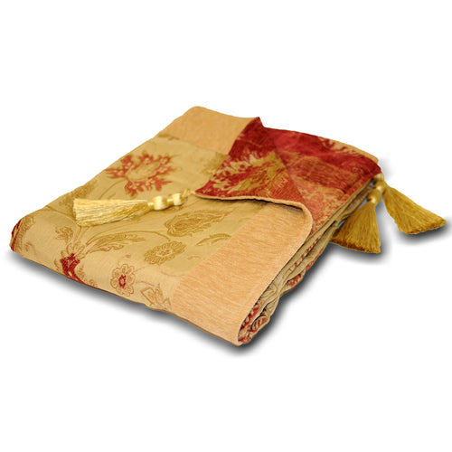 Image of the Zurich Floral Jacquard Throw | Champagne | Paoletti