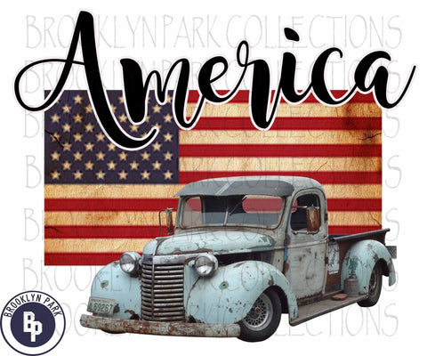 America Flag, American, USA, Vintage Truck, SUBLIMATION TRANSFER, Ready To Press, - Brooklyn Park Collections LLC