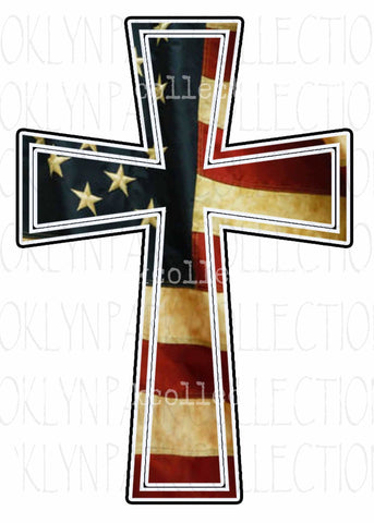 American Flag, Cross, Vintage Tea Stained, Instant DIGITAL Download, Sublimation PNG, Art Print - Brooklyn Park Collections LLC