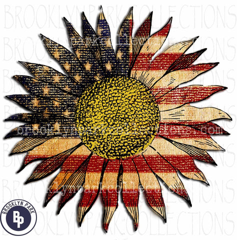 American Flag, Sunflower, Graphics, Instant Digital Download, Sublimation PNG, Art Print - Brooklyn Park Collections LLC