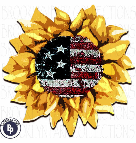 American Flag, Watercolor Sunflower, USA SUBLIMATION TRANSFER, Ready To Press - Brooklyn Park Collections LLC