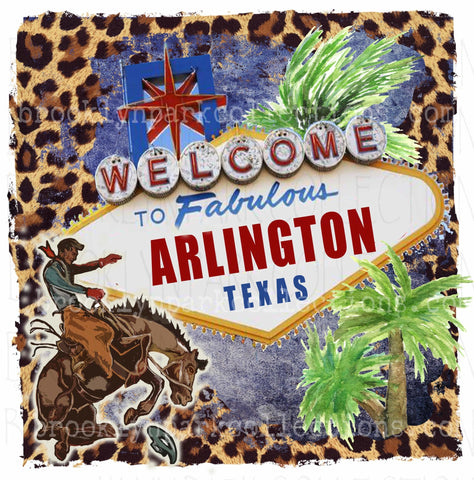 Image of Arlington Tx, Vegas Sign Art, Rodeo, Leopard, Instant DIGITAL Download, Sublimation PNG, - Brooklyn Park Collections LLC