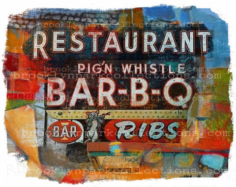 BBQ Abstract Sign Art, Vintage Restaurant, Instant DIGITAL Download, Graphics, Sublimation PNG, - Brooklyn Park Collections LLC