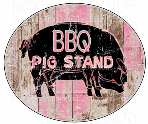 BBQ Pig Stand, Sign Art, Vintage Distressed, Instant DIGITAL Download, Graphics, Sublimation PNG, Art Print - Brooklyn Park Collections LLC