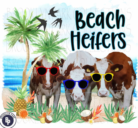 Beach Heifers, Vacation, Cows, SUBLIMATION TRANSFER, Ready To Press - Brooklyn Park Collections LLC