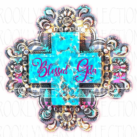 Blessed Gda, Turquoise Watercolor Cross, SUBLIMATION TRANSFER, Ready To Press, Christian - Brooklyn Park Collections LLC