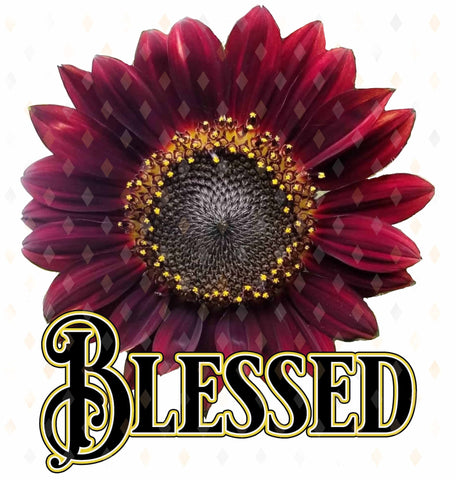 Blessed, Red Sunflower, SUBLIMATION TRANSFER, Ready To Press, - Brooklyn Park Collections LLC