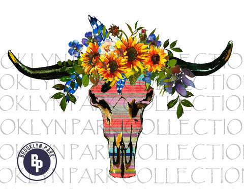 Bull Skull, Southwest Serape, Watercolor Sunflower, USA, SUBLIMATION TRANSFER, Ready To Press - Brooklyn Park Collections LLC