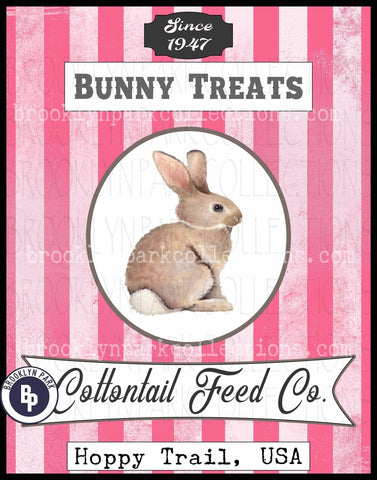Bunny Feed Sack, Cottontail Rabbit, SUBLIMATION TRANSFER, Ready To Press, pillow, fabric - Brooklyn Park Collections LLC