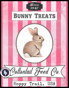 Bunny Treats Feed Sack Art, Cottontail Rabbit, Instant Digital Download, Sublimation PNG. Print - Brooklyn Park Collections LLC