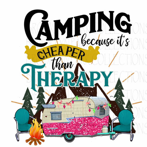 Camping Cheaper Than Therapy, Vintage RV, Mountains, Instant Digital Download, Sublimation PNG, graphics, - Brooklyn Park Collections LLC