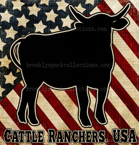 Cattle Ranchers, USA, Flag, Beef, Instant Digital Download, Sublimation PNG, Art Print - Brooklyn Park Collections LLC