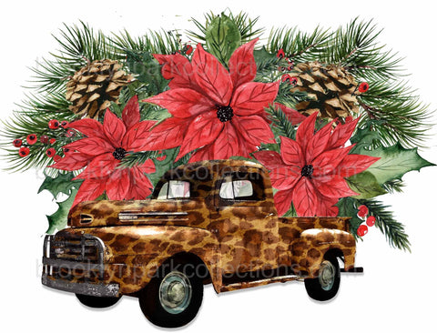 Christmas Floral, Poinsettia, Leopard Truck, Instant Download, Digital Art, Sublimation PNG, Art Print, - Brooklyn Park Collections LLC