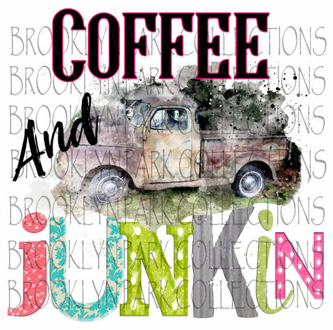 Coffee Junkin, Watercolor Truck, SUBLIMATION TRANSFER, Ready To Press, Junking Road Trip - Brooklyn Park Collections LLC