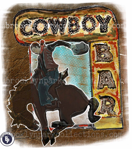 Cowboy Bar, Bucking Horse, Rodeo, SUBLIMATION TRANSFER, Ready To Press, - Brooklyn Park Collections LLC