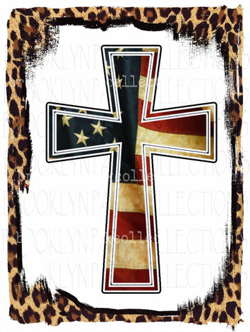 Cross, American Flag, Leopard Frame, Sublimation Transfer, Ready To Press - Brooklyn Park Collections LLC