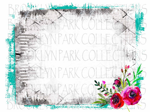 Distressed Turquoise Gray Stripe Floral Frame Instant Download Art  Print Sublimation PNG - Brooklyn Park Collections LLC