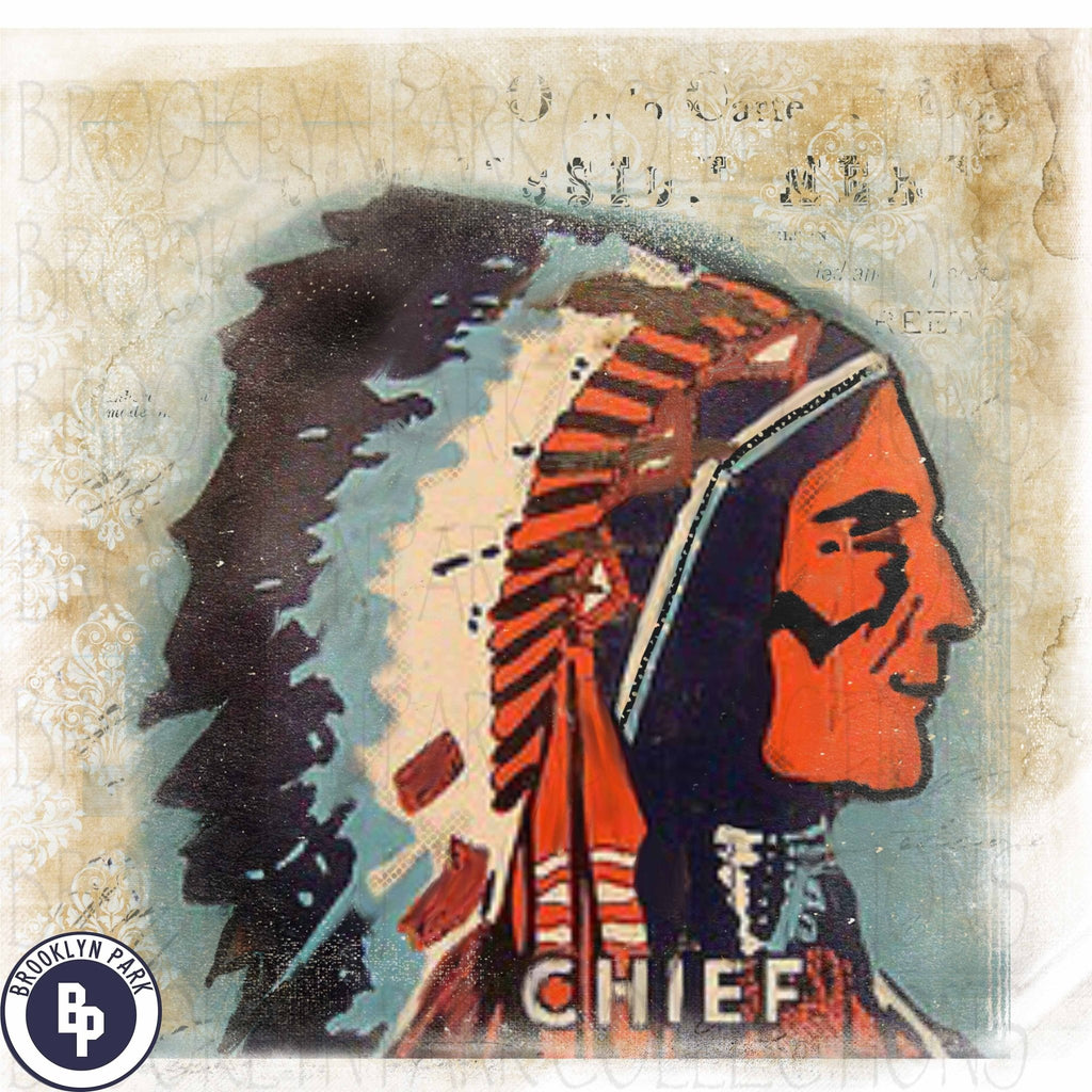Distressed Vintage Indian Chief Digital Design Instant Download Wal Brooklyn Park Collections Llc
