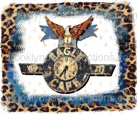 Eagle Cafe, Road Sign Art, Cheetah Print, SUBLIMATION TRANSFER, Ready To Press, Leopard - Brooklyn Park Collections LLC