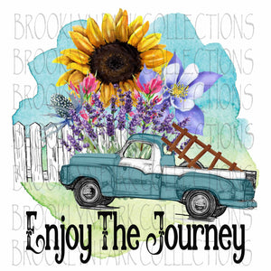 Enjoy Journey, Vintage Truck, Sunflowers, Digital Design, Sublimation PNG, Graphics - Brooklyn Park Collections LLC