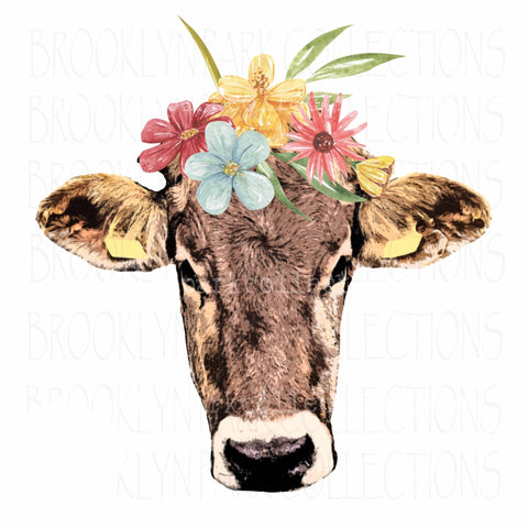 Farm Cow, Wildflowers, Instant Digital Download, Sublimation PNG, Clip Art, - Brooklyn Park Collections LLC