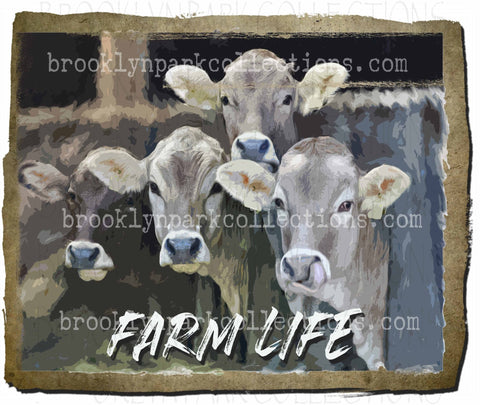 Farm Life, Watercolor Cattle, Farm, Ranch, Cow, SUBLIMATION TRANSFER, Ready To Press - Brooklyn Park Collections LLC