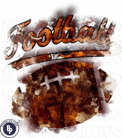 Football, Watercolor Splash Art, Distressed, SUBLIMATION TRANSFER, Ready To Press, - Brooklyn Park Collections LLC