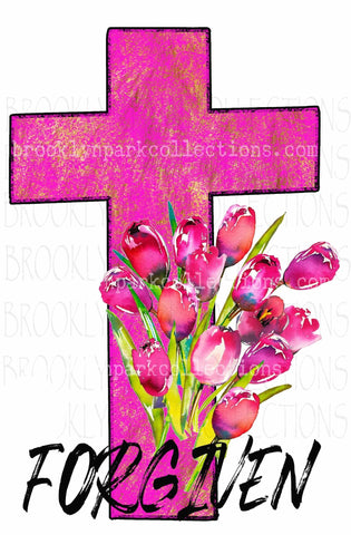 Forgiven, Pink Cross, Watercolor Tulips, Instant Digital Download, Sublimation PNG, Art Print - Brooklyn Park Collections LLC