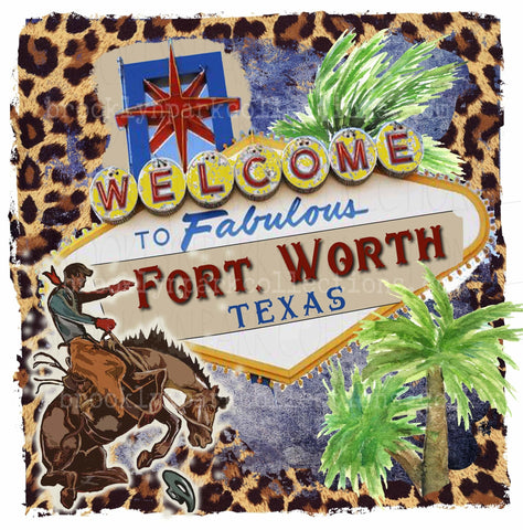 Fort Worth Texas, Rodeo Sign, Bucking Horse, Leopard, Instant DIGITAL Download, Sublimation PNG, Art Print - Brooklyn Park Collections LLC
