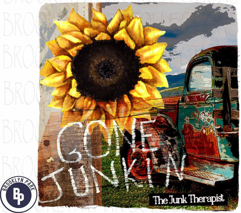 Gone Junkin, Vintage Truck, Sunflower, SUBLIMATION TRANSFER, Ready To Press, Junking - Brooklyn Park Collections LLC