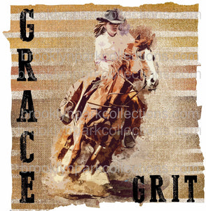 Grace + Grit, Cowgirl Horse Racing, Sassy Cowgirl Co, SUBLIMATION TRANSFER, Ready To Press, - Brooklyn Park Collections LLC