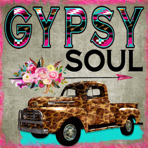 Gypsy Soul, Leopard Truck, flowers, Sublimation Transfer, Ready To Press - Brooklyn Park Collections LLC