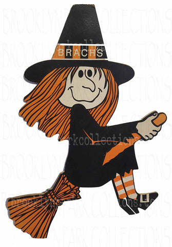 Halloween Witch, Brach's Candy Sign Art, Vintage, SUBLIMATION TRANSFER, Ready To Press, - Brooklyn Park Collections LLC