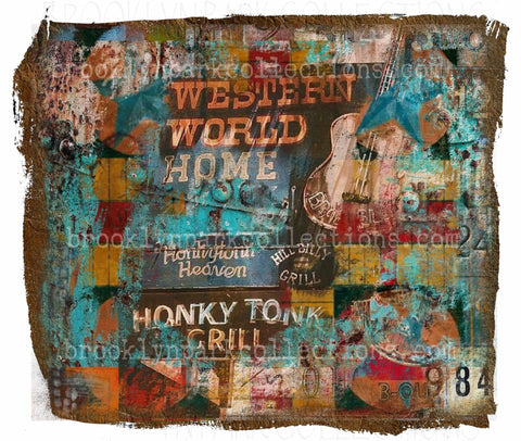 Honky Tonk Abstract Art, Western Star Guitar, DIGITAL Download, Print, Sublimation PNG, - Brooklyn Park Collections LLC
