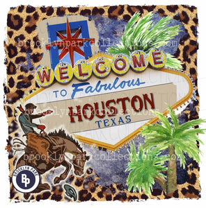 Houston Rodeo Sign, Bucking Horse, Leopard, Instant DIGITAL Download, Sublimation PNG, Art Print - Brooklyn Park Collections LLC