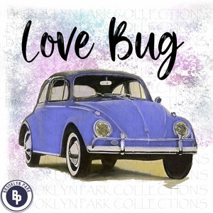 Vintage VW Love Bug, Watercolor, Sublimation Transfer, Ready To Press