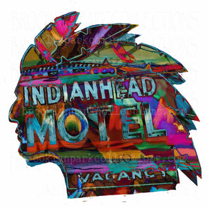 Indian Head Motel Road Sign Art, SUBLIMATION TRANSFER, Ready To Press, - Brooklyn Park Collections LLC