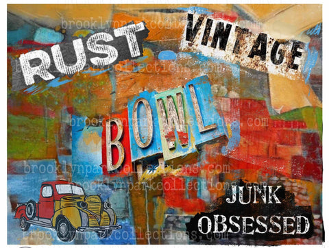 Junk Obsessed Abstract Art, Vintage Rust Truck, DIGITAL Download, Graphics, Sublimation PNG, - Brooklyn Park Collections LLC
