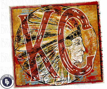 KC Chief, Indian Head Art, Vintage Distressed, SUBLIMATION TRANSFER, Ready To Press, - Brooklyn Park Collections LLC