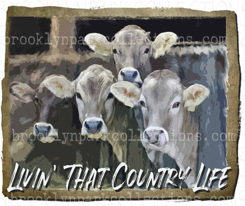 Livin That Country Life, Watercolor Cattle, SUBLIMATION TRANSFER, Ready To Press - Brooklyn Park Collections LLC