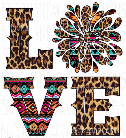 LOVE, Aztec, Leopard, Splash Art, Instant DIGITAL Download, Clip Art Print, Sublimation PNG, Valentine - Brooklyn Park Collections LLC
